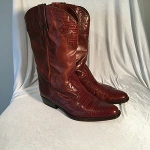 Joan and David lizard embossed leather cowboy boot